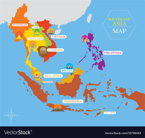 southeast asia map  country icons  location
