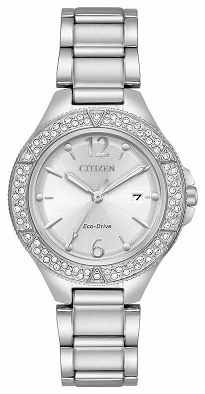 Silhouette Crystal Ladies Silver Citizen Swarovski