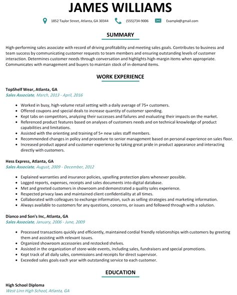 shoe store sales associate resume