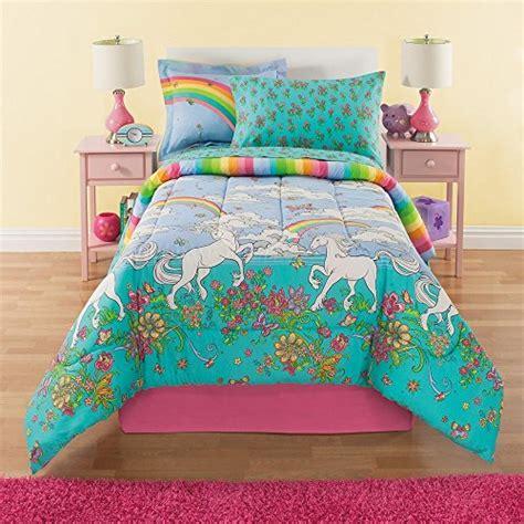 6 piece girls rainbow comforter set twin unicorn