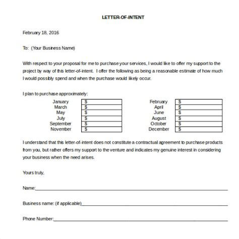 sample letter  intent  business   template