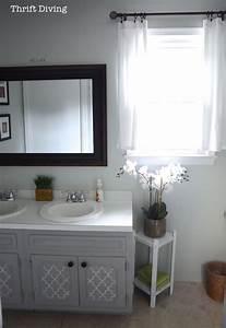 Before after my pretty painted bathroom vanity for Painted vanities bathrooms