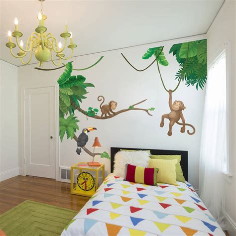 chambre garcon jungle jungle monkey children 39 s 39 wall sticker set by oakdene