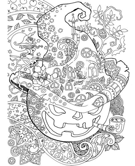 halloween adult coloring book  digital pages