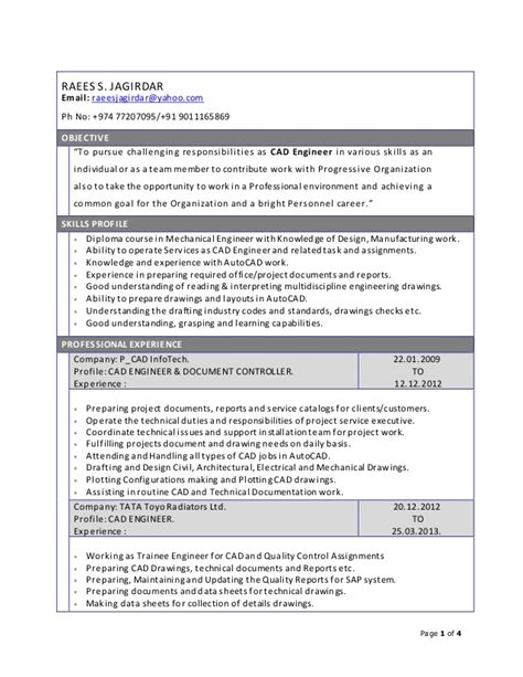 resume for cad engineer project coordinator project