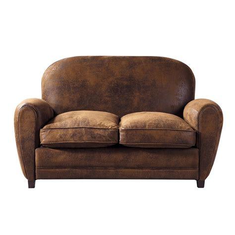 canap 233 2 places imitation cuir marron arizona maisons du monde
