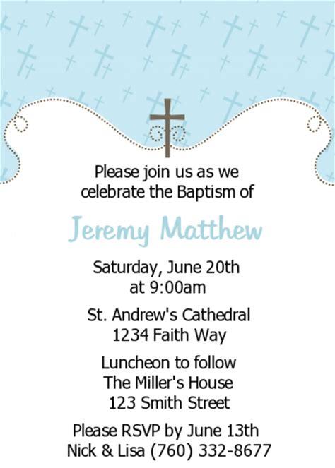 cross blue baptism christening invitations candles