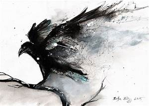 Abstract raven painting by DoodleWithGlueGun on DeviantArt