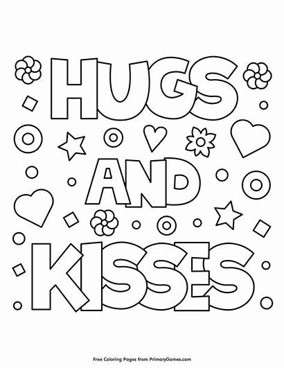 Coloring Hugs Kisses Valentines Pages Valentine Printable