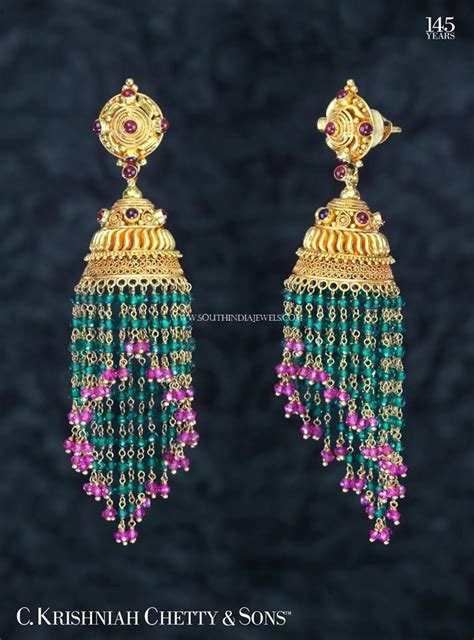 gold ruby emerald buttalu design traditional earrings