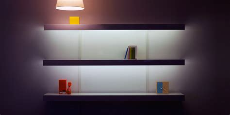 wall shelving with lighting on on shelving systems