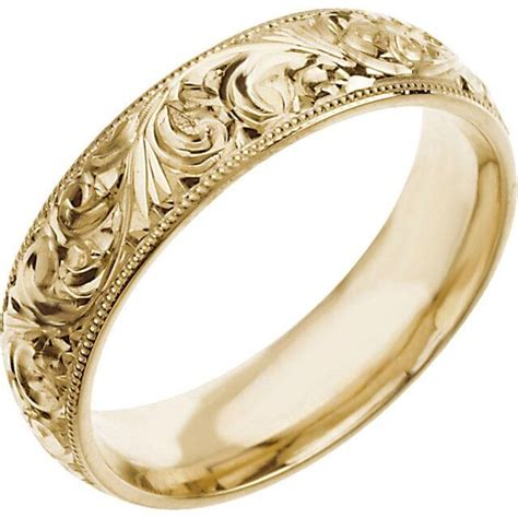 wedding band mm hand engraved ring  white