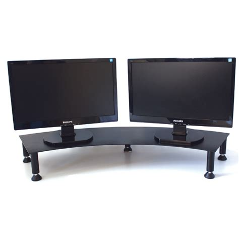 dual monitor corner desk dual monitor stand fluteline the home of office ergonomics