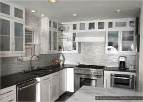 White Kitchen Glass Backsplash Black Countertop Brown Backsplash White Cabinet Black Countertop White Backsplash Tile