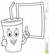 Coloring Soda Drink Blackboard Cup Cartoon Blank Character sketch template