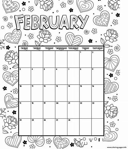 Calendar Coloring Pages February Printable Valentines Blank