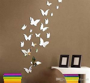 Set 3D Butterfly Mirror Effect Wall Decal Sticker DIY Home