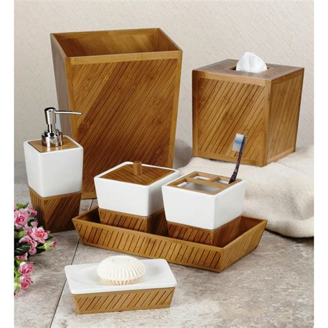 spa bamboo  piece ceramicbamboo bath accessory set