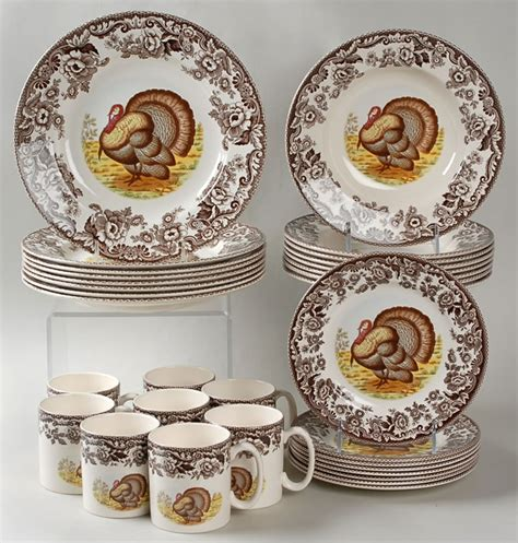 thanksgiving china sets spode woodland 32 piece set classic turkey design at replacements ltd