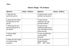 Climate Change Research Questions Worksheet By Danielhind  Teaching Resources Tes