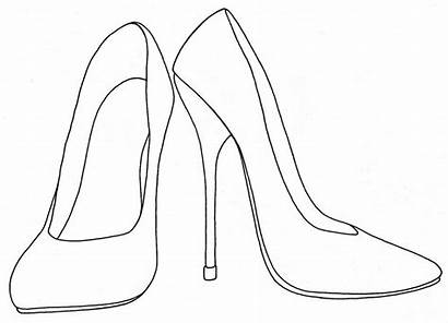 Heels Coloring Heel Shoes Pages Shoe Drawing