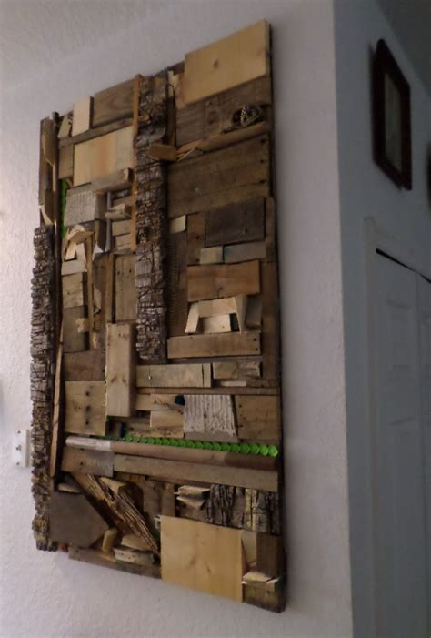 recycled scrap materials  wood wall art