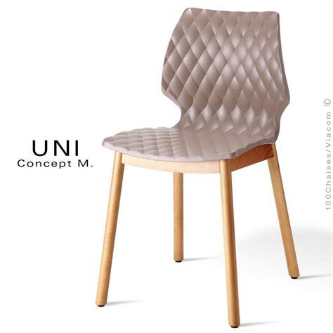 4 pieds 4 chaises rouen chaise design coque effet matelassé uni piétement 4 pieds bois arrondie naturel assise couleur