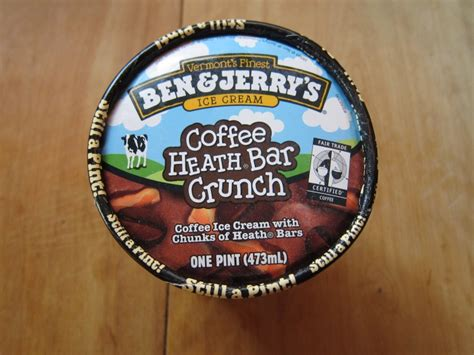 Couple of years ago ben & jerry's decided to do away without ice cream due to the heath bar having gmo and instead they came out with the coffee toffee crunch that uses generic non gmo chocolate covered toffee pieces in it. Review: Ben & Jerry's - Coffee Heath Bar Crunch Ice Cream   Brand Eating