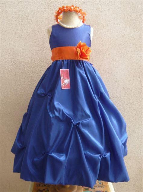 flower girl dress blueorange burnt po wedding