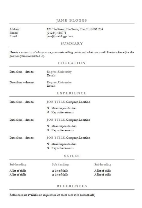 Write A Resume Template by Centred Headings Cv R 233 Sum 233 Template How To Write A Cv