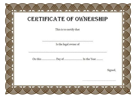 certificate  ownership template instant birth
