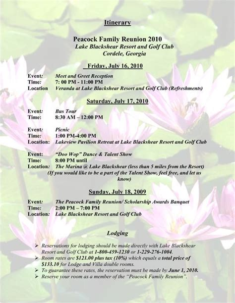 sample family reunion program templates itinerary