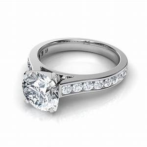 channel set round cut diamond engagement ring in 14k With circle wedding rings