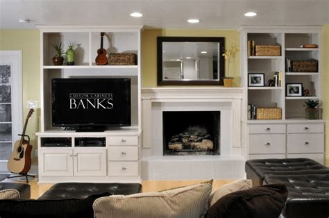 white entertainment center  side   fireplace