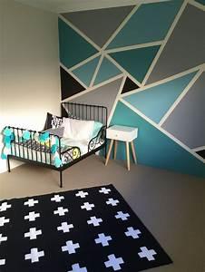 Funky geometric designs paint wall boy room google
