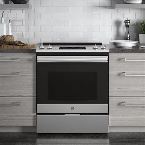 "JS645SLSS   GE 30"" Slide In Electric Range with Power Boil"