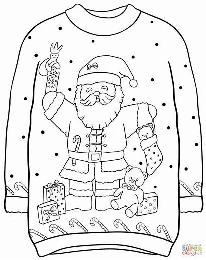 Sweater Coloring Christmas Santa Pages Printable Sweaters