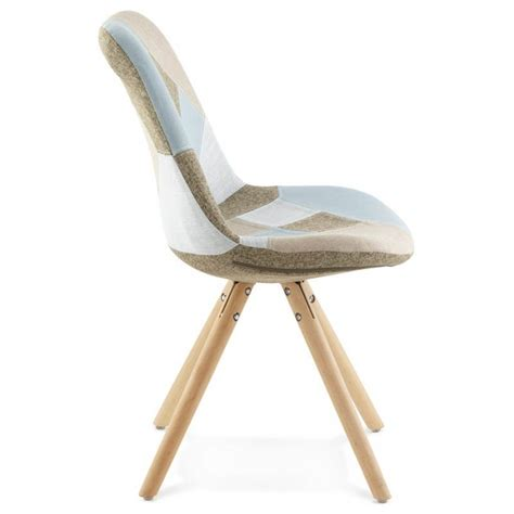 chaise tissu beige chair patchwork style scandinavian bohemian fabric blue