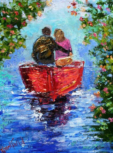 Original Oil Painting Romantic Couple Palette By
