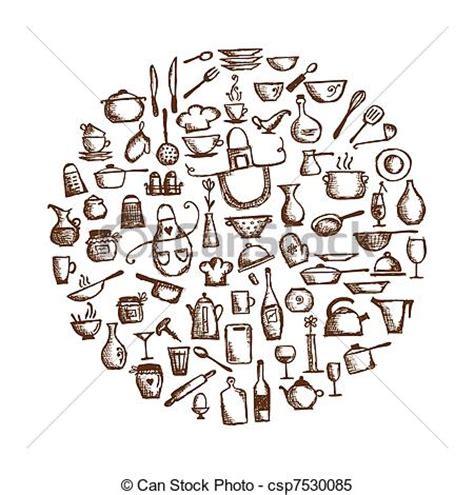 dessin animé de cuisine vecteur clipart de cuisine ustensiles croquis dessin