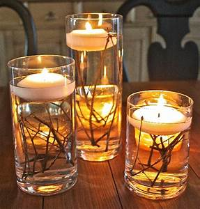 Simple, Branch, And, Floating, Candle, Centerpieces