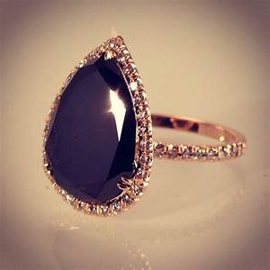Pear Shaped Black Diamond Engagement Rings images