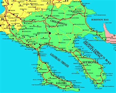 map  chalkidiki halkidiki greece