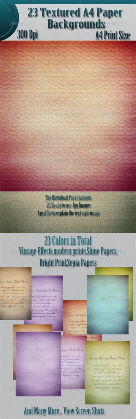 23 Textured A4 Paper Backgrounds by raspanky GraphicRiver