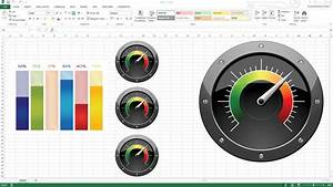 excel kpi gauge interactive dashboards using powerpoint With excel speedometer template download
