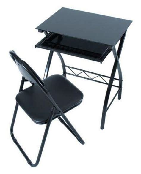 levv black glass computer desk and chair set computing