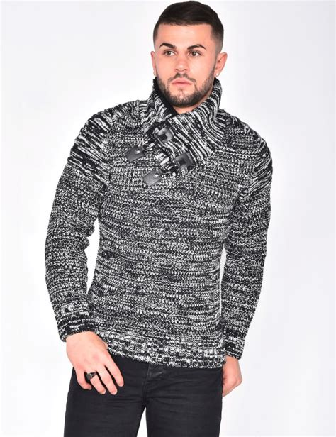 gros pull en homme gros pull maille col montant industry