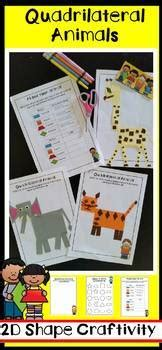 shape activities quadrilateral animals craftivity tpt