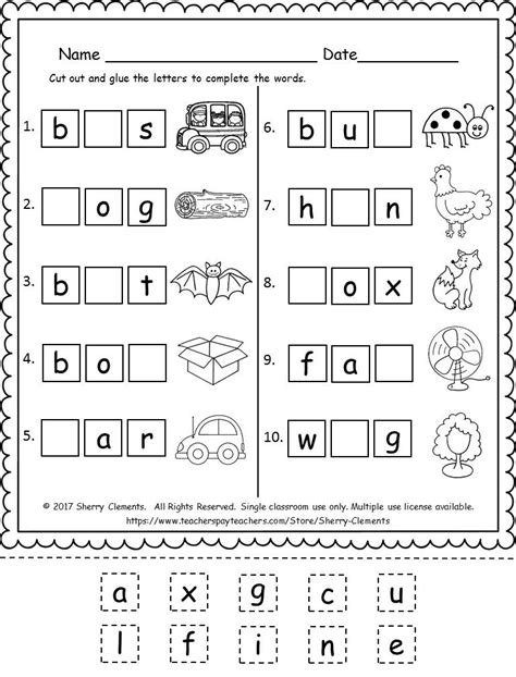 kindergarten literacy  math freebie  images cvc