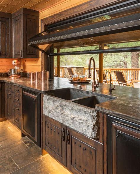 rustic kitchen  chiseled granite farmhouse sink hgtv